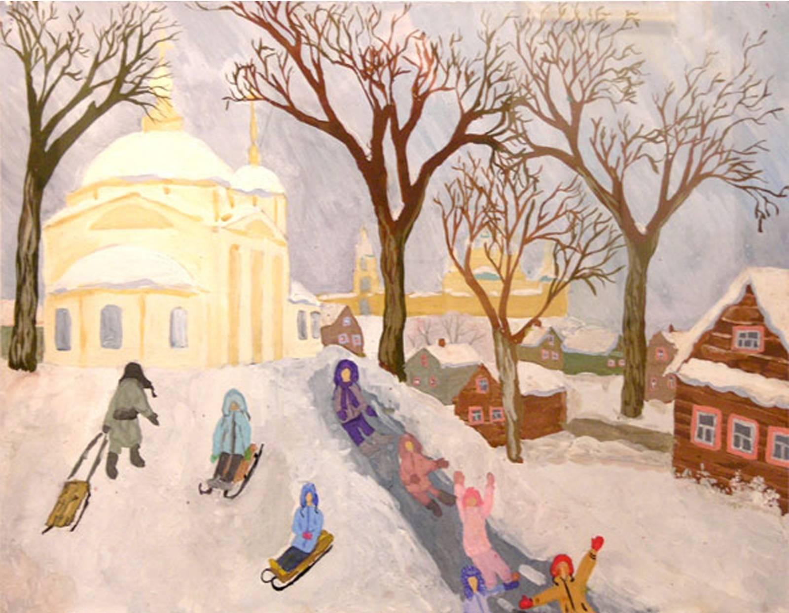 Зима рисунки своими руками 3